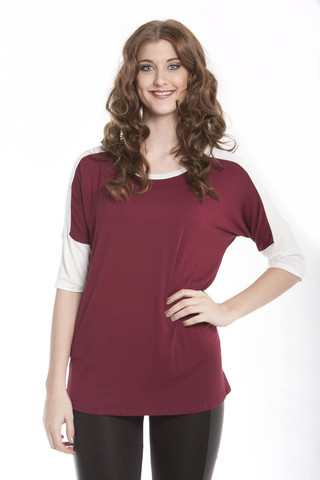 Two-Tone Dolman Sleeve Tee Shirt