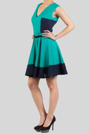 Colorblock Skater Dress with Open Back in Teal
