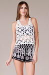 Crochet Crop Tank Top with Fringe Hem