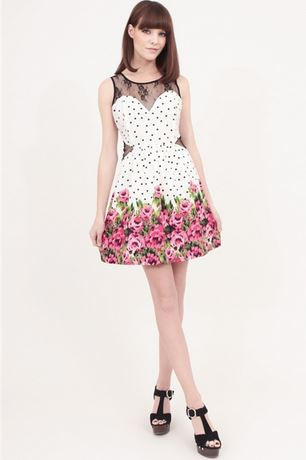 Floral Print Woven Dress with Lace Contrast